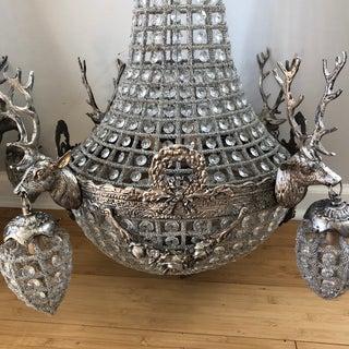 Pair of Vintage Warm Silver Stag Deer Chandeliers Preview