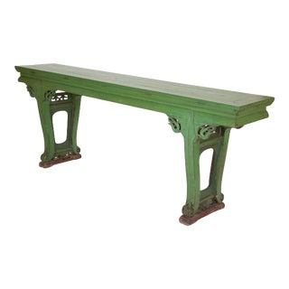 Green Painted Chinese Console Table, Large Scale For Sale