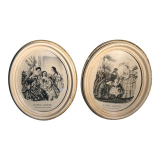 1940s Vintage French Victorian Style Framed Fashion Illustrations - A Pair For Sale