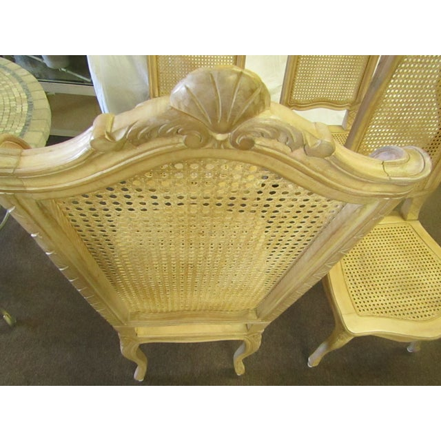 Baker Tall Back Cane & Carved Wood Dining Chairs - Set of 4 For Sale In West Palm - Image 6 of 8