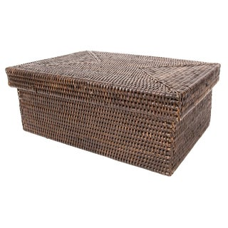 "Artifacts Rattan Rectangular Box With Lid 14""x10""x6"" For Sale"
