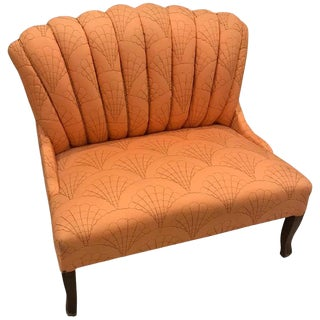 Art Deco Salmon Pink Upholstered Love Seat With Seashell Motif For Sale