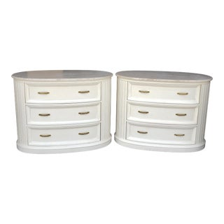Vintage Century Furniture Travertine Topped Chests-a Pair For Sale