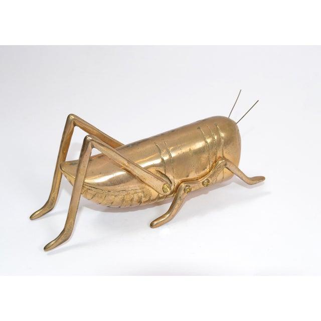Italian Mid-Century Modern Brass Grasshopper Sculpture, Animal Sculpture 1970 For Sale - Image 4 of 9
