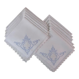 Embroidered Linen Napkins - Set of 12 For Sale