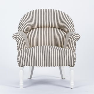 Casa Cosima Napoleon III Chair in Black and Ivory Ticking Preview