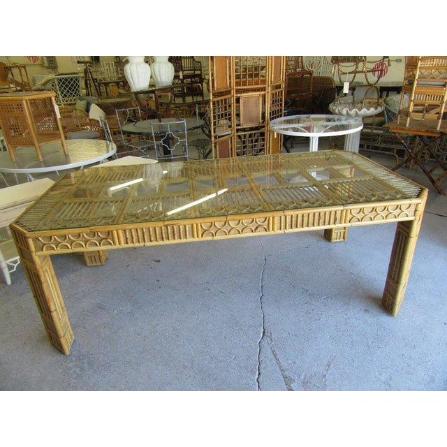 Intricate Natural Bamboo Dining Table For Sale In West Palm - Image 6 of 13