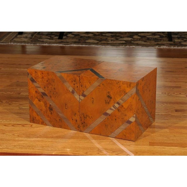 Restored Pair of Olivewood and Nickel Cubes For Sale - Image 4 of 11