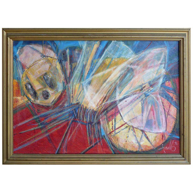 "1990s Edith Ferul ""The Bumble Bee"" Abstract Oil on Canvas Painting For Sale"