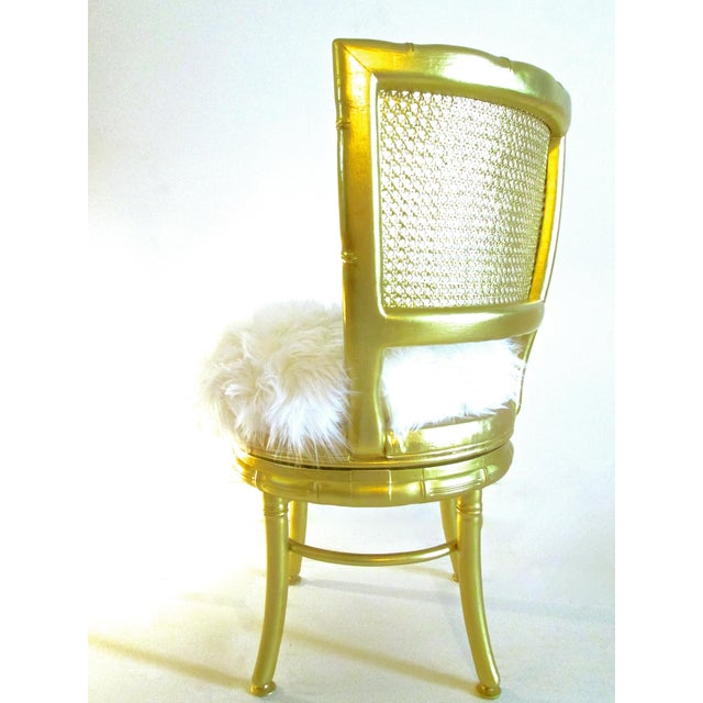 Gold Faux Bamboo & Fur Swivel Chair - Image 5 of 8