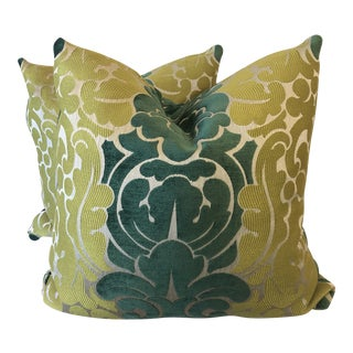 """Fifth and Foster """"Lucera 78"""" Damask Stripe 22"""" Pillows-A Pair For Sale"""
