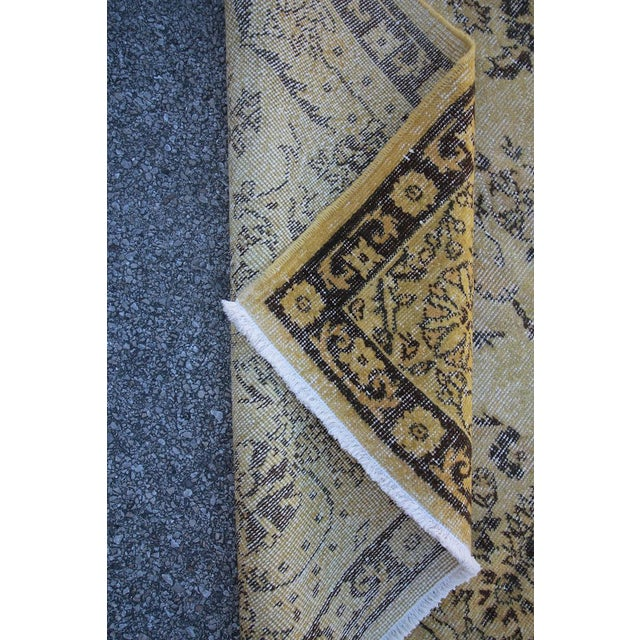 "Vintage Distressed Overdyed Rug - 6'8"" X 10'4"" For Sale In Houston - Image 6 of 6"