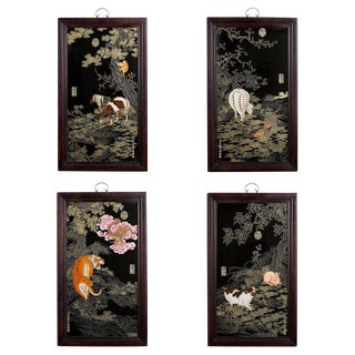 Set of Four Qing Style Painted Porcelain Panels For Sale