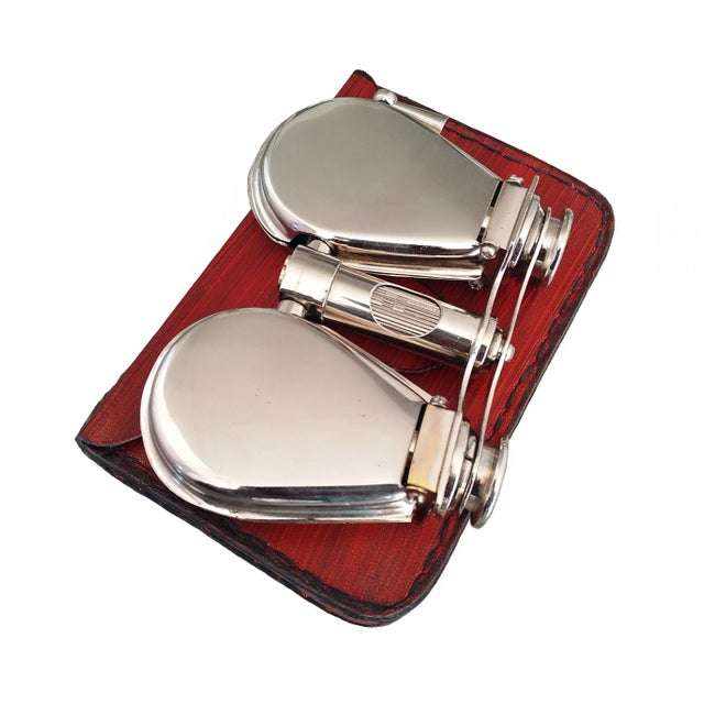 Vintage Nickel Plated Brass Folding Binoculars with Leather Case For Sale - Image 6 of 6