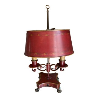 Early 20th Century French Painted Tole Bouillotte Lamp For Sale