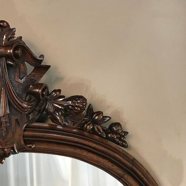 Late 19th Century 19th Century French Louis XVI Walnut Oval Mirror For Sale - Image 5 of 13