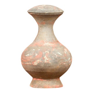 Petite Chinese Han Terracotta Lidded Jar with Original Paint circa 202 BC-200 AD For Sale