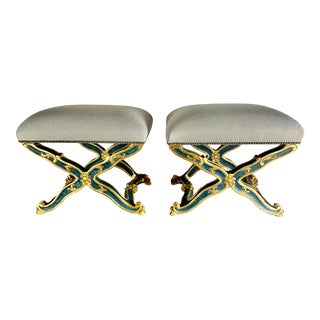 Pair of French Painted and Parcel-Gilt Benches, Circa 1900s For Sale