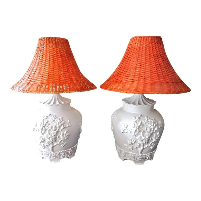 A Pair Vintage Floral Gloss White Large Pagoda Table Lamps W/Bright Orange Wicker Shades For Sale