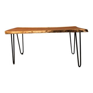 Rustic Handcrafted Michigan Cherry Live Edge Coffee Table For Sale