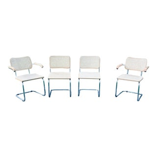 1970s Vintage Marcel Breuer Chrome and Cane Cantilever Chairs- Set of 4 For Sale