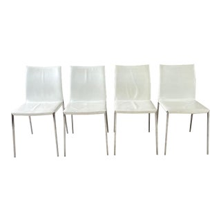 Zanotta Italian Dining Chairs Aluminum Frame With Slip Cover Seats - Set of 4 For Sale