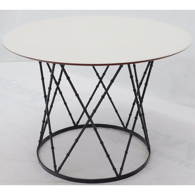Mid 20th Century Enameled Top Faux Bamboo Base Mid-Century Modern Dining Dinette Table For Sale - Image 5 of 11