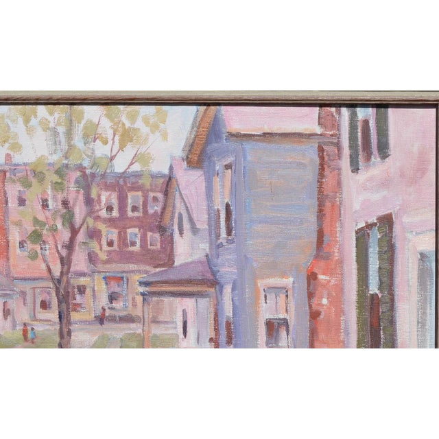 C.1950's John W. Wagner Cityscape Oil Painting For Sale In West Palm - Image 6 of 9