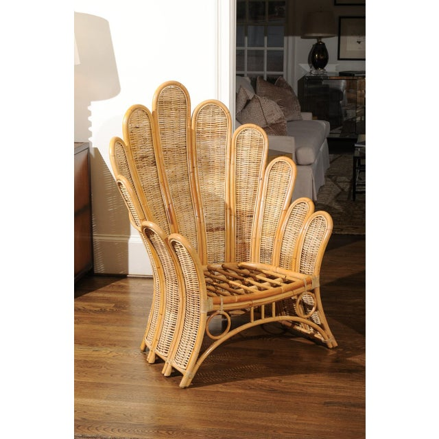 Tan Majestic Restored Pair of Vintage Rattan and Wicker Palm Frond Club Chairs For Sale - Image 8 of 11