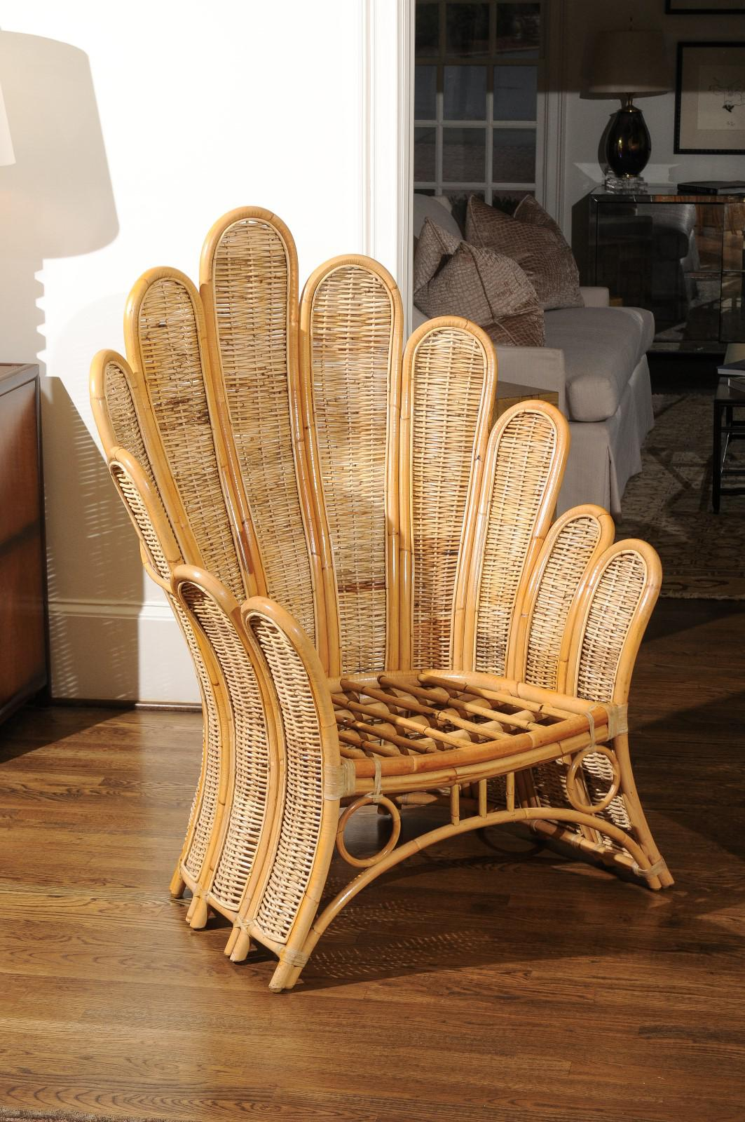 Majestic Restored Pair Of Vintage Rattan And Wicker Palm Frond Club Chairs    Image 8 Of