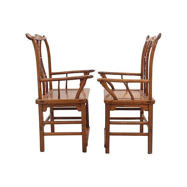 Asian Antique Yolk Chairs - a Pair For Sale - Image 3 of 7