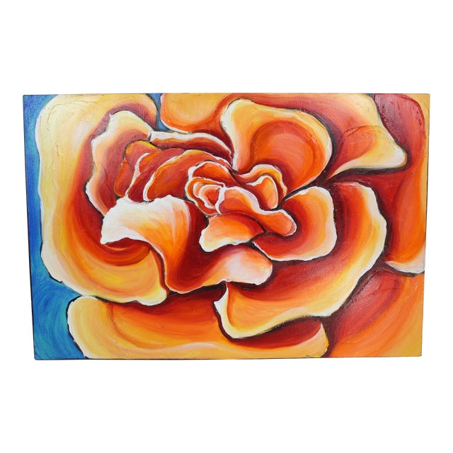 Beautiful Abstract Floral in Bold Rich Reds and Oranges With Sky Blue Background For Sale