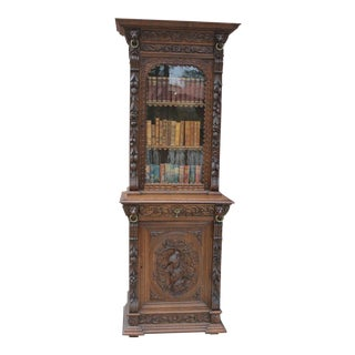 Antique French Oak 19th Century Black Forest Hunt Cabinet Bookcase Slim Profile For Sale