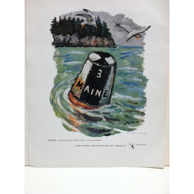 """This is a Color Advertising Print that is titled """"Maine"""". The Advertising Print is for The Container Corporation of..."""
