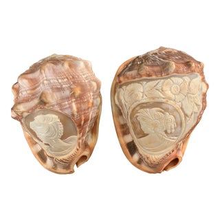 Vintage Hand Carved Cameo Shells - a Pair For Sale