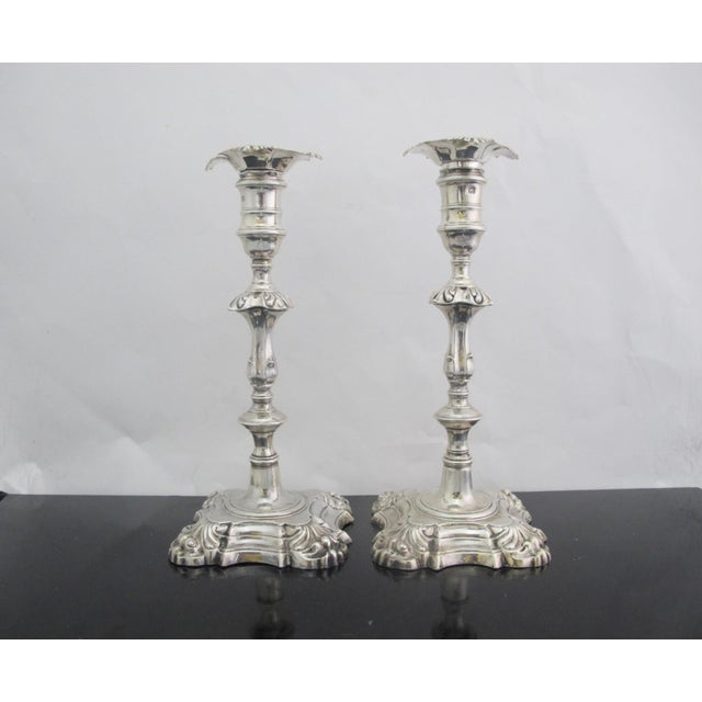 Antique George II Sterling Silver Candlestick John Cafe London 1752 - a Pair For Sale - Image 13 of 13