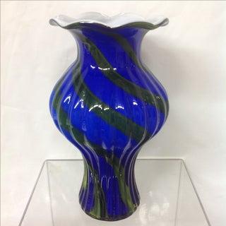 Royal Blue & Malachite Swirl Glass Vase Preview