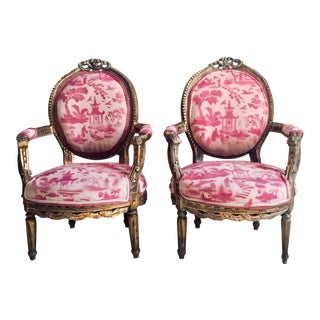 1920's Vintage Henry XVI Gilded Armchairs- A Pair For Sale