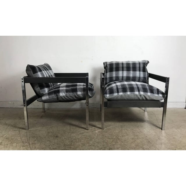 Mid 20th Century Classic 1970s Bauhaus Style Chrome and Wood Sling Chairs - A Pair For Sale - Image 5 of 9