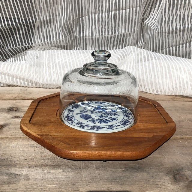 Ceramic Blue and White Dolphin Teakwood Cheese Plate With Glass Dome For Sale - Image 7 of 7