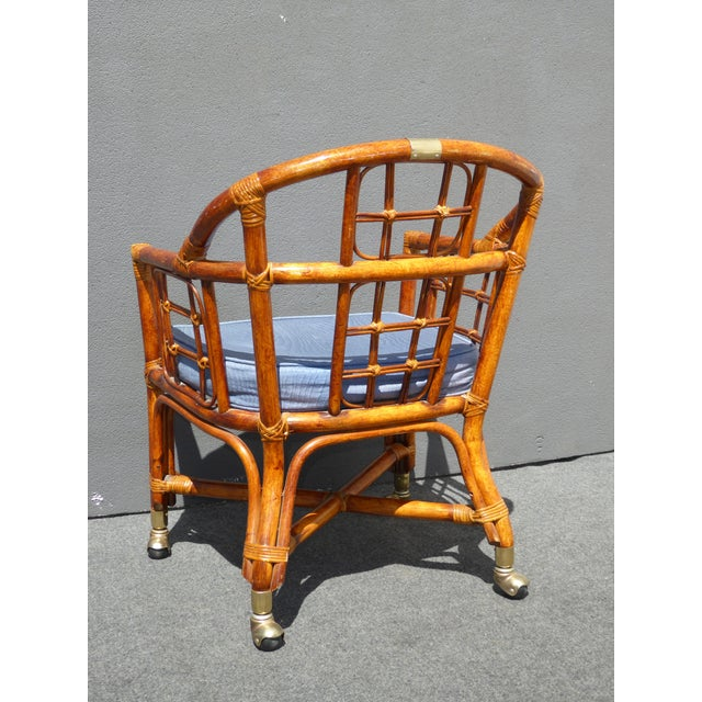 Mid-Century Modern Bamboo & Rattan Arm Chairs - 4 - Image 8 of 11