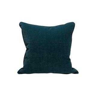 Scalamandre Strie Velvet Pillow, Teal For Sale