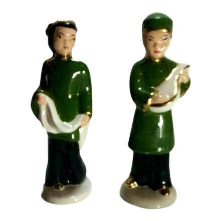 Vintage M. Craver Asian Couple Porcelain Figurines - a Pair For Sale