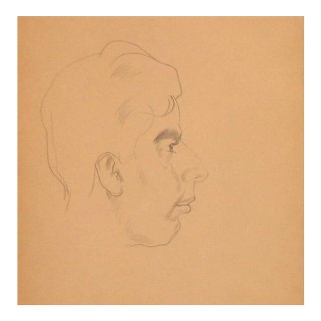 1940s Paul Travis Self Portrait Drawing For Sale