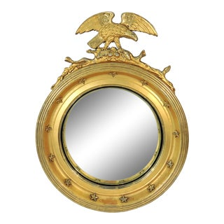 1906 Antique Federal Convex 'Eagle & Snake' Round Gilt Wall Mirror With Thirteen Stars For Sale