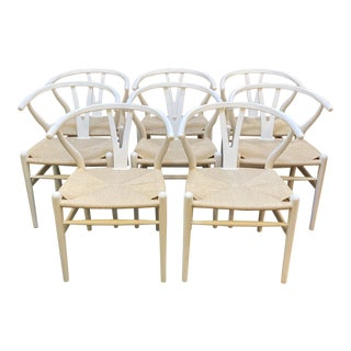 Late 20th Century Vintage White + Natural Rush Seat Wishbone Chairs - Set of 8 For Sale