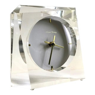 1970s Mid-Century Lucite Sculptural Mantel Desk Clock For Sale