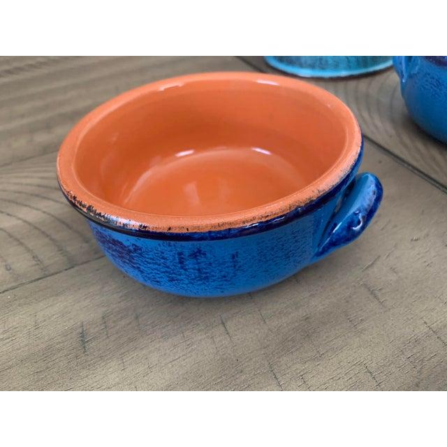 Vintage DeSilva Rustic Painted & Glazed Terra Cotta Soup Bowls With Handles- Set of 5 For Sale - Image 9 of 12