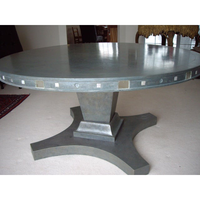 French Provincial French Provincial Single Pedestal Concrete Dining Table For Sale - Image 3 of 6