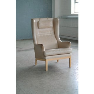 Midcentury Scandinavian Arne Norell High Back Lounge Chair in Worn Tan Leather Preview